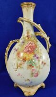 "Large Antique/Vtg 14"" Royal Bonn Hnd Ptd Floral Gold Gilt Porcelain Vase Germany"