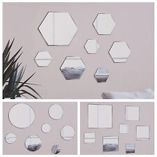 7Pc Decorative Stick On Wall Mirror No Tools Glass Bathroom Bedroom Wedding Deco