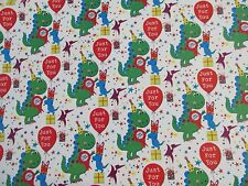 2 SHEETS CHILDRENS BIRTHDAY WRAPPING PAPER & MATCHING GIFT TAG - DINOSAUR T-REX