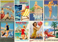 "Stickers (8 pics 2.5""x3.5"" each) Vintage Travel Poster Europe FLONZ 441-0206"