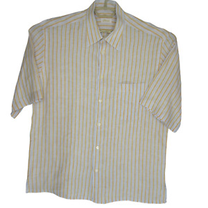 Brioni Men's Linen Short Sleeve Light Blue W/Orange Striped Shirt SZ XL EUC