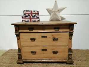 Antique style Pine Chest Bank Drawers Rustic Country House