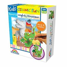 Kids Ceramic FUN PAINT A MIGHTY DINOSAUR CRAFT KIT Plaster Shape, Pots & Brush