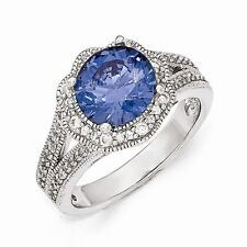 Cheryl M Sterling Silver Purple Color CZ Ring Size 7 #1013