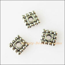 50Pcs Antiqued Silver Tone Tiny Square Spacer Beads Charms 5mm