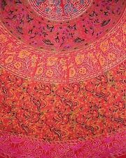 Sanganeer Block Print Tablecoth 72 Inch Round Cotton Red