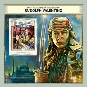 Sierra Leone 2016 MNH Rudolph Valentino 90th Memorial 1v S/S Film Movies Stamps