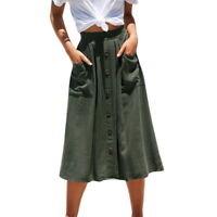 Women Summer Button-front Pocketable A-line High Pleat Waist Casual Loose Skirts