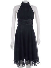 NWT CONNECTED PETITE Black Chiffon Cocktail Party Dress - Halter, Ruched - 10P