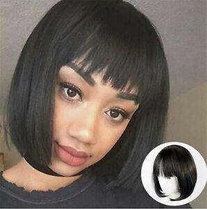 Women Lady Girl Natural Look Fringe Party Bob Black Short Fake Hair Wig Wigs