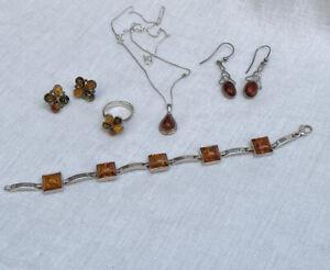 Sterling silver Amber bracelet necklace ring & earrings job lot