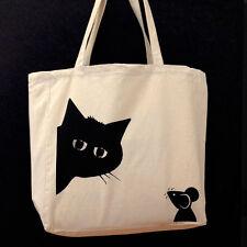Screen-printed TOTE BAG - PEEKABOO design made in UK, CAT & MOUSE illustration