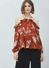 SALE! NEW WITH TAGS MANGO Russet Red Floral Cold Shoulder Top UK 12 EUR 40 US 8