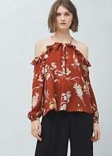 NEW WITH TAGS MANGO Burnt Orange Floral Off The Shoulder Blouse UK 12 EUR 40