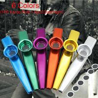 Metal Kazoo + 6PCS Kazoo Flute Diaphragm Mouth Flute Harmonica Kids Party