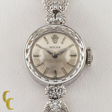 Rolex ♛ Women's 14k White Gold Vintage Dress Watch w/ Diamonds & Mesh Band