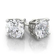 4CT 14k White Gold Round Lab Created Diamond Earrings Basket Solitaire Studs