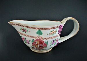 Antique French Samson Chinese Style Sauce Bowl 19th Century Famille Rose