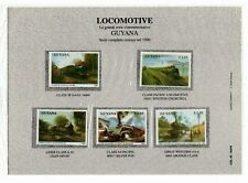 Francobolli Guyana 1990 Locomotive Serie completa di 5 valori nuovi