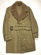 Brooks Brothers Trench Coat Jacket Mens XL Beige Fully Lined Wool Overcoat