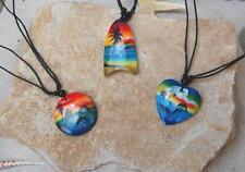 3 Wooden Beach Design Necklaces Heart Body Board & Round Pendants /n090