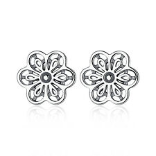 Vintage Style Solid 925 Sterling Silver Earrings Openwork Flower Stud Earrings