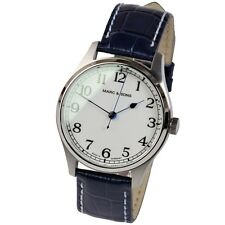 Marc & Sons Marine Automatic Men's Watch White Blue Miyota 9015 Leather Band