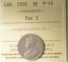 1932 FAR 2 - Rare - Canada Nickel  -  Graded - ICCS F-12 - XYJ 458
