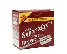 100 X SUPERMAX STAINLESS DOUBLE EDGE RAZOR BLADES SALOON PACK