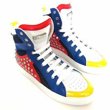 W-602241 New Dsquared2 Red White Blue Hi-Top Studs Sneakers Marked Size 42 US-9