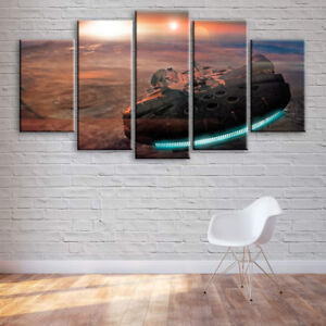 Large Millennium Falcon Star Wars 5 Panel Canvas, Wall Art, Picture, Print #085