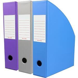 Office Organiser Paper Storage Holder Bright Magazine 3 x Violet OfficeCentre®