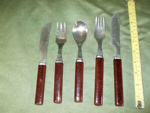 DENBY CUTLERY SHINY DARK BROWN  individual pieces