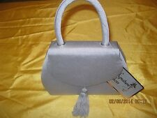Alfa New Grosgrain purse evening bag with tassel shoulder strap  Grey sliver