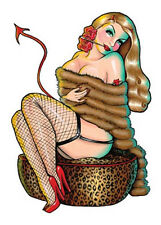 Hot BLONDE NUDE DEVIL GIRL Kulture STICKER/Vinyl DECAL Art by Kirsten Easthope