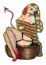 Hot BLONDE NUDE DEVIL GIRL Kulture STICKER/Vinyl DECAL Art by Kirsten Easthope