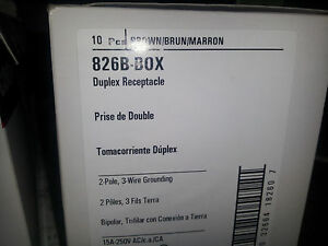 COOPER 826B-BOX NEW IN BOX 2P 3W 15A 250V DUPLEX RECEPTACLE BROWN #B6