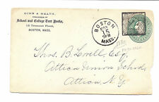 1880 US Gin & Heath Textbooks Commerical Cover, SC U165, Boston, Numeral Cancel*