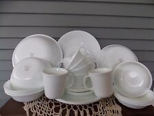31 Piece Corelle Dinnerware Set Winter Frost White Service for 4 with Extras