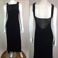 Vintage Joseph Ribkoff Women's 8 Black Velvet Burnout Stretchy Maxi Dress Gown