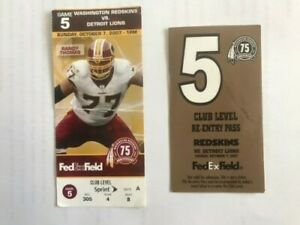 10/7/2007 Redskins vs Detroit Lions NFL Ticket Stub and Very Rare Re-Entry Pass