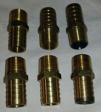 "Brass 1/2"" NPT Male x 3/4"" Hose Barb Straight Fitting (Lot of 6)"