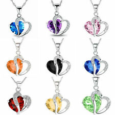 Fashion Women Crystal Rehinstone Chain Heart Necklace Pendant Jewelry Gift