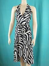 NWT 12 ANTONIO GUAL Black White 100% Silk Halter Cocktail Dress Zebra Wrap 10 8