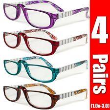 4 Pairs Mens Womens Unisex Spring Hinge Fashion Power Reading Reader Glasses 1-3