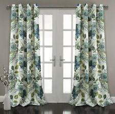 """Set Of 2 Panel  Floral Paisley Window Curtain , 84"""" x 52"""", Blue"""