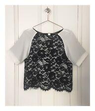 Women's Designer Tibi Exclusive Shopbop White With Black Lace Top Size Medium