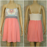 Altar'd State Misses SMALL Sun Dress Floral Embroidered Pink Empire Waist Boho