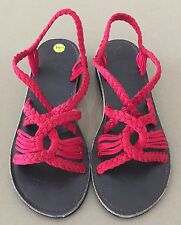 NEW Red Cord with Rubber Sole Open Sandals Hand Made in Thailand Size 9