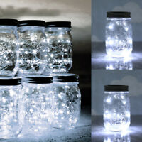 3-Pack Mason Jar Lights 20 LED Solar Fairy String Lamp Lids Insert Patio Decor